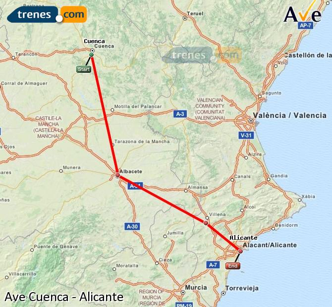 Enlarge map AVE Cuenca to Alicante