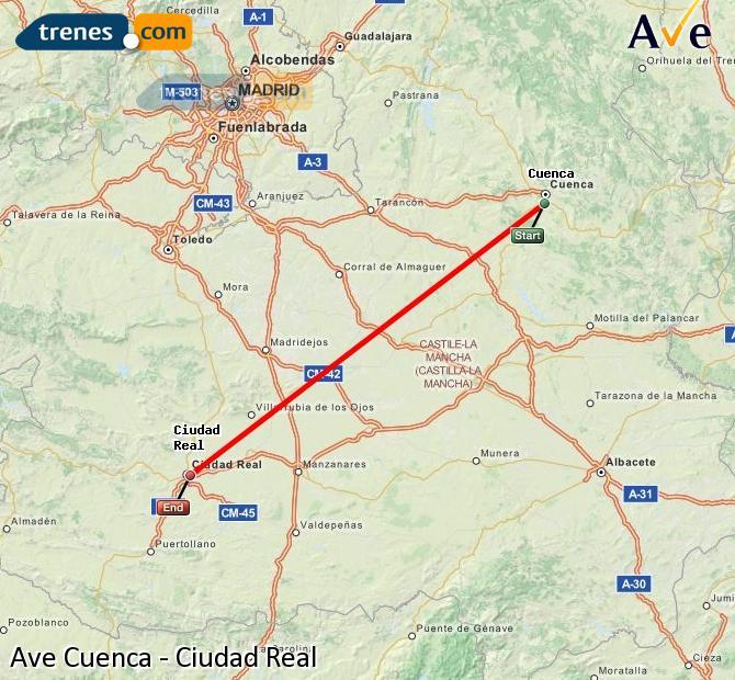 Ingrandisci la mappa AVE Cuenca Ciudad Real