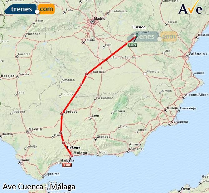 Karte vergrößern AVE Cuenca Málaga