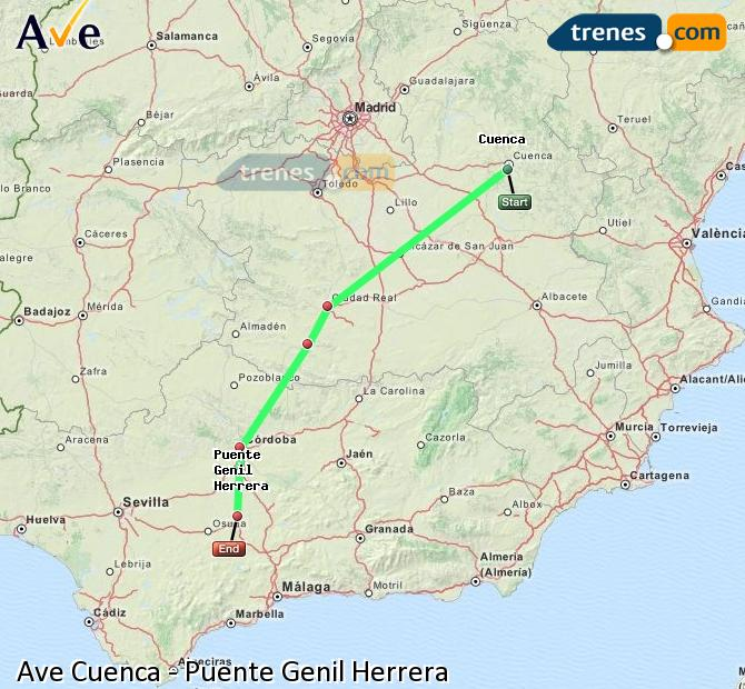 Ampliar mapa AVE Cuenca Puente Genil Herrera