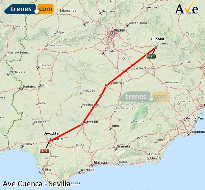 Enlarge map AVE Cuenca to Seville