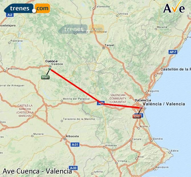 Enlarge map AVE Cuenca to Valencia