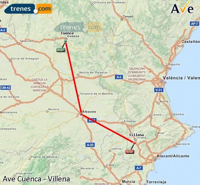 Agrandir la carte AVE Cuenca Villena