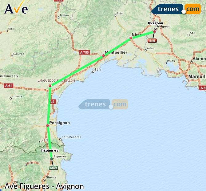 Karte vergrößern AVE Figueres Avignon