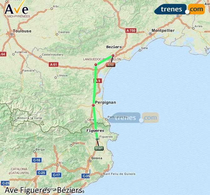 Ingrandisci la mappa AVE Figueres Béziers