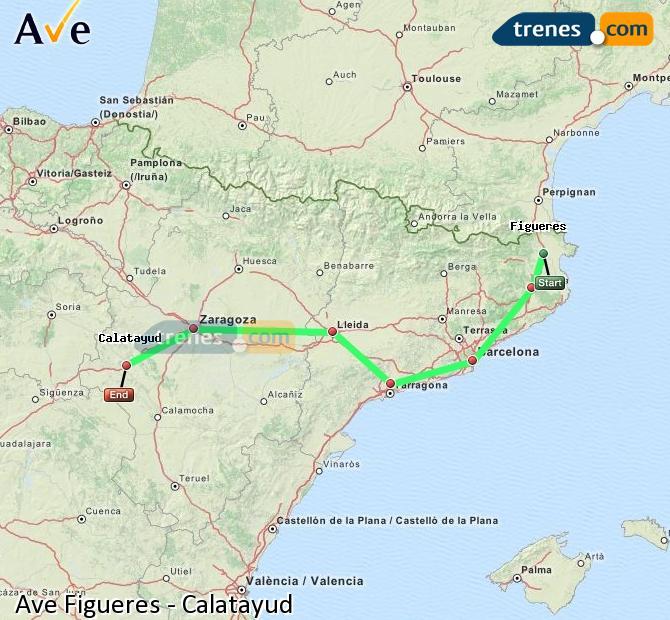 Karte vergrößern AVE Figueres Calatayud