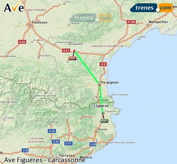Enlarge map AVE Figueres to Carcassonne