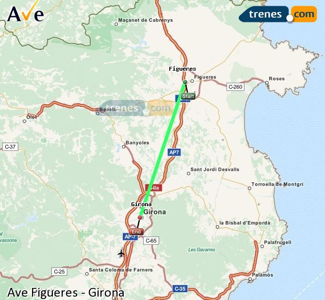 Enlarge map AVE Figueres to Girona