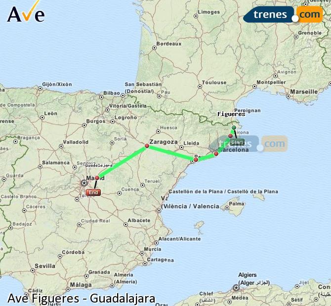 Agrandir la carte AVE Figueres Guadalajara
