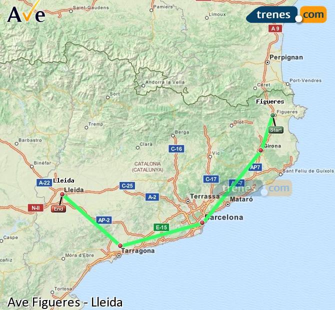 Agrandir la carte AVE Figueres Lleida