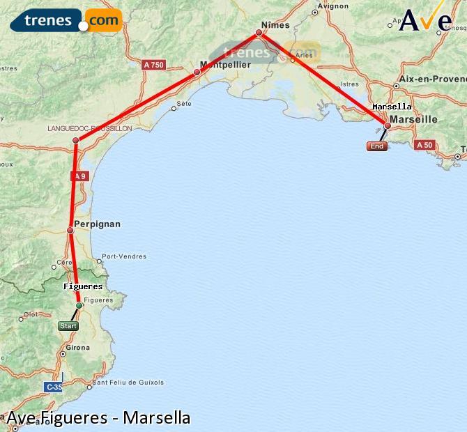 Karte vergrößern AVE Figueres Marsella