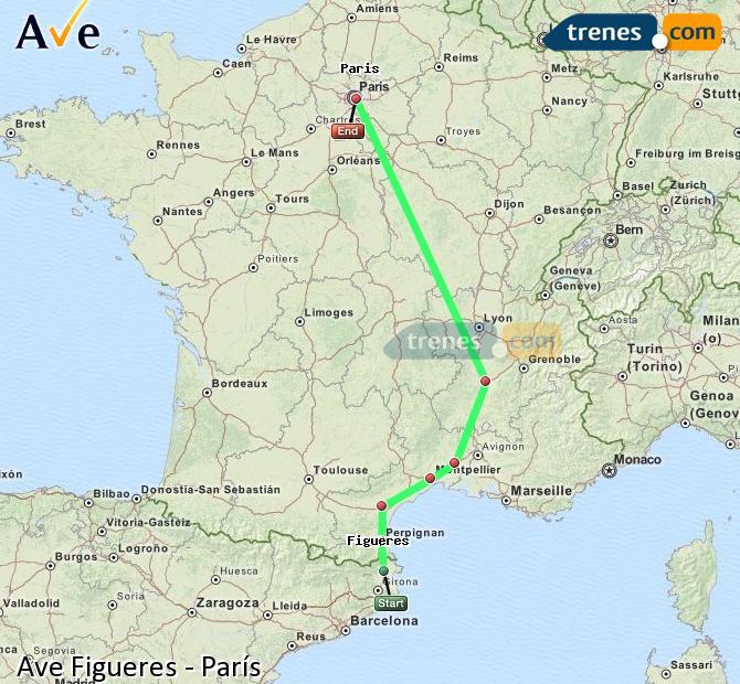 Ingrandisci la mappa AVE Figueres Parigi