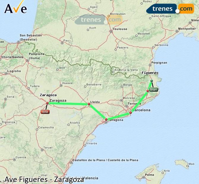 Ingrandisci la mappa AVE Figueres Zaragoza