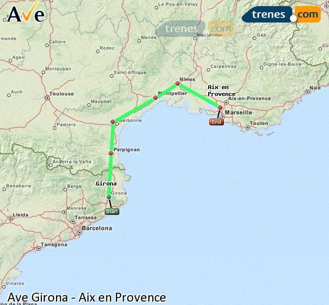 Ingrandisci la mappa AVE Girona Aix en Provence