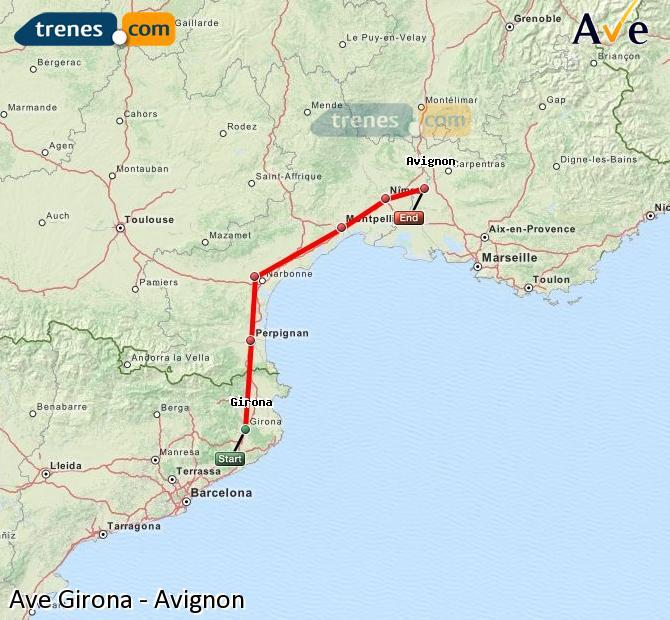 Karte vergrößern AVE Girona Avignon