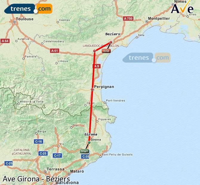 Karte vergrößern AVE Girona Béziers