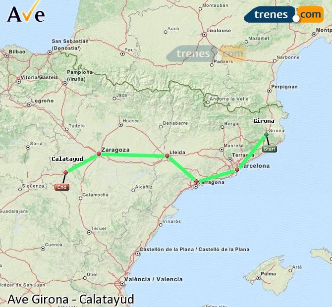 Ampliar mapa AVE Girona Calatayud