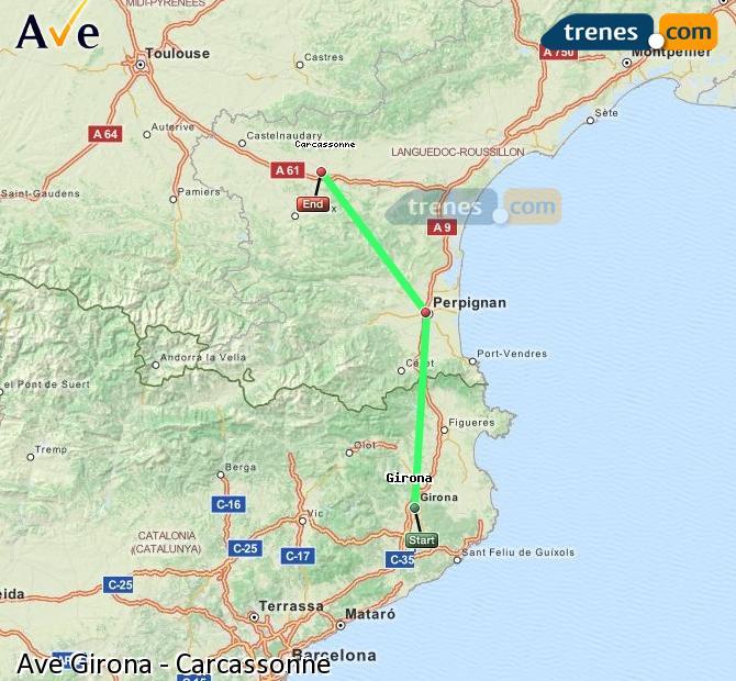 Agrandir la carte AVE Girona Carcassonne