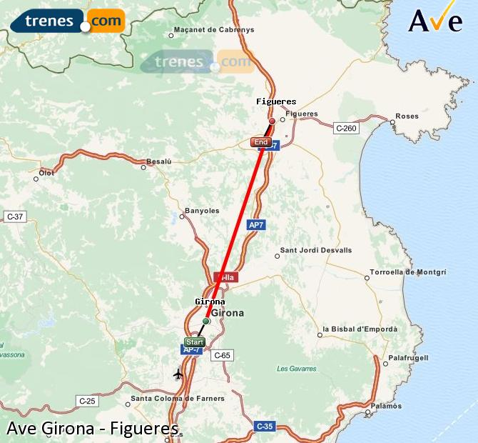 Enlarge map AVE Girona to Figueres
