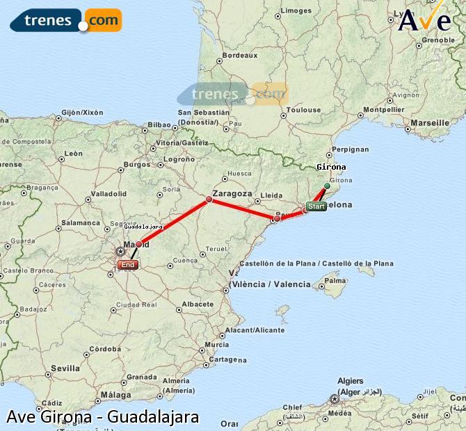 Ingrandisci la mappa AVE Girona Guadalajara