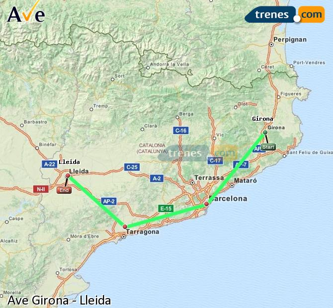 Ampliar mapa AVE Girona Lleida