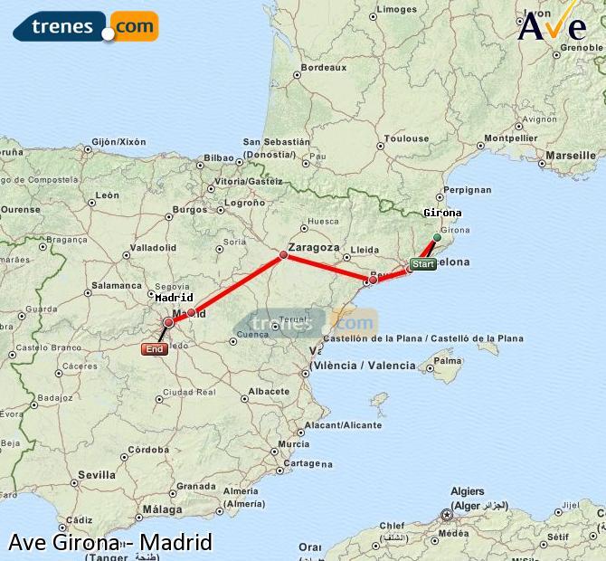 Enlarge map AVE Girona to Madrid