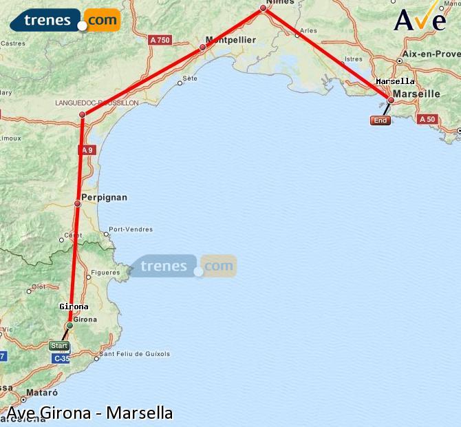 Ingrandisci la mappa AVE Girona Marsella