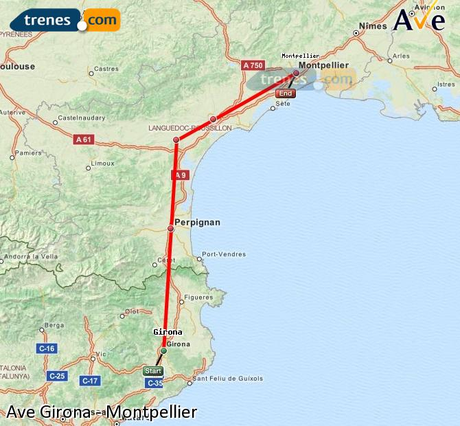 Enlarge map AVE Girona to Montpellier