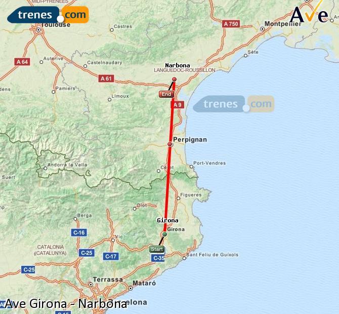 Ampliar mapa AVE Girona Narbona