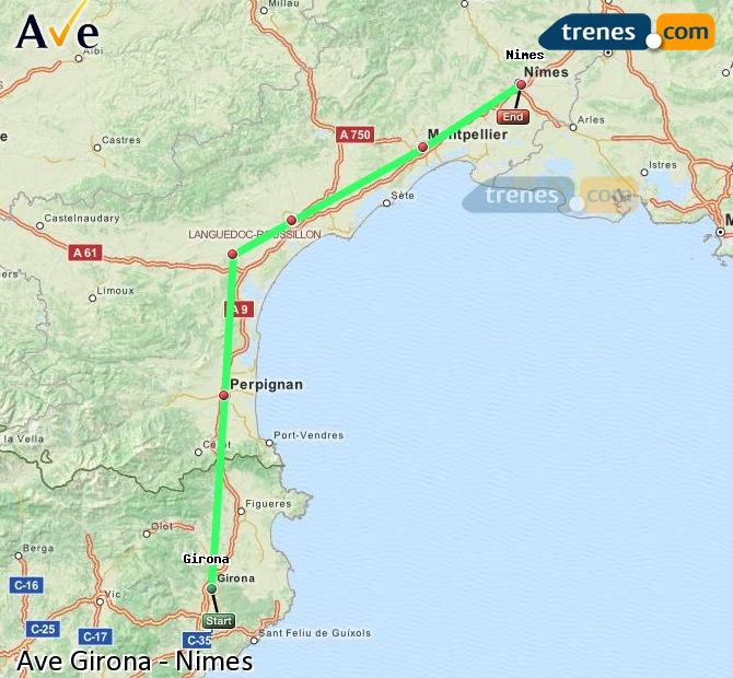Enlarge map AVE Girona to Nimes