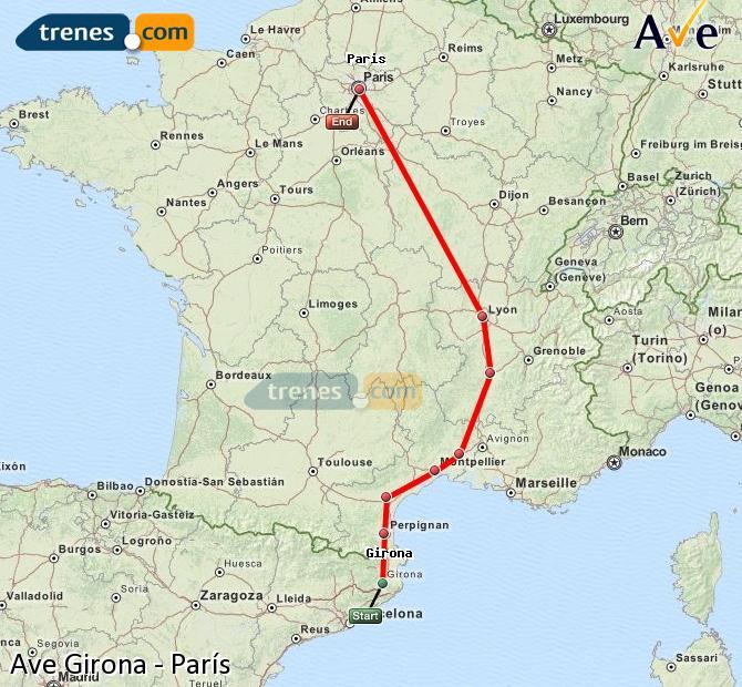 Agrandir la carte AVE Girona Paris