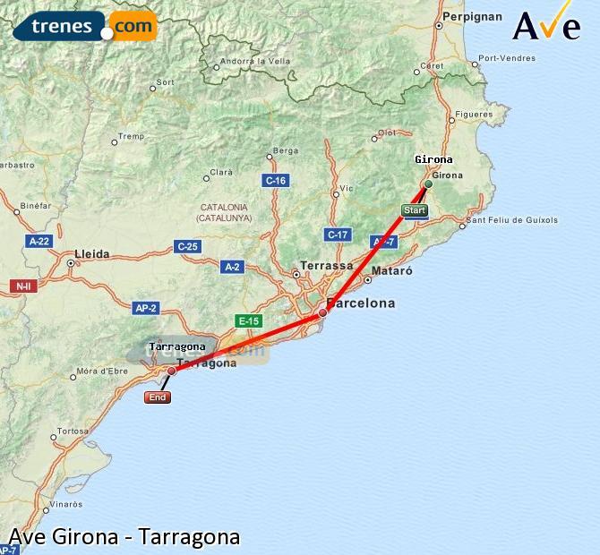 Ampliar mapa AVE Girona Tarragona