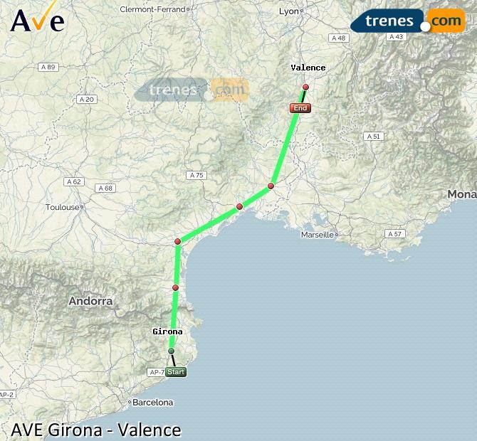 Ingrandisci la mappa AVE Girona Valence