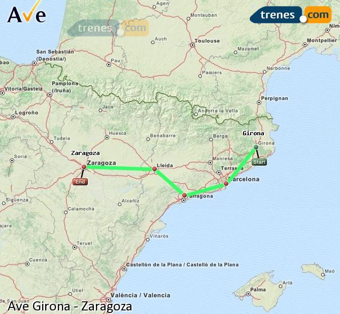 Ampliar mapa AVE Girona Zaragoza