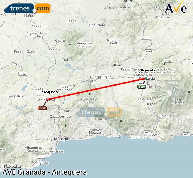 Ampliar mapa AVE Granada Antequera