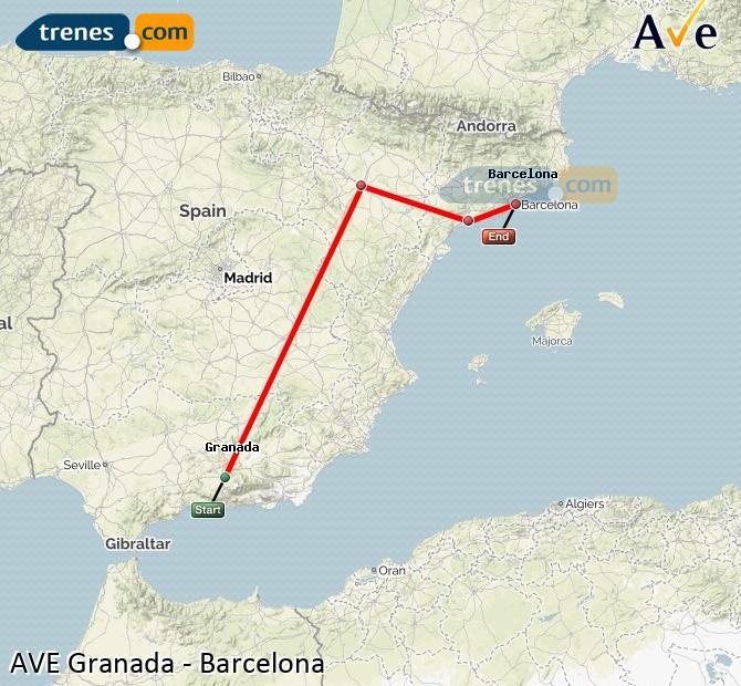 Ampliar mapa AVE Granada Barcelona