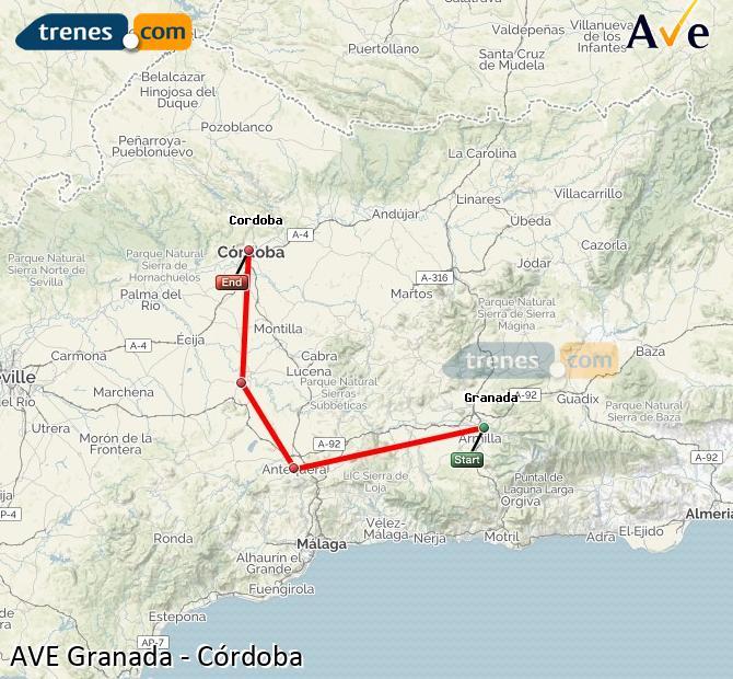 Ampliar mapa AVE Granada Córdoba