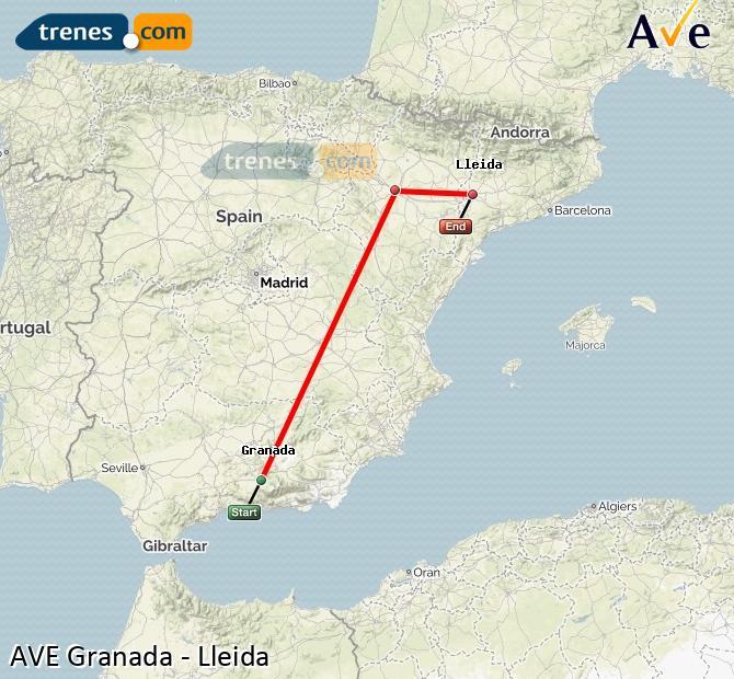 Ampliar mapa AVE Granada Lleida