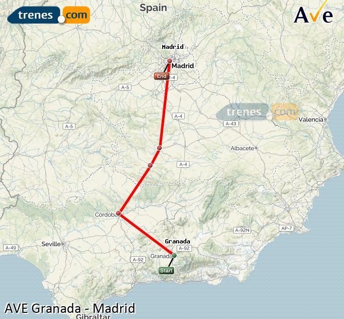 Ampliar mapa AVE Granada Madrid