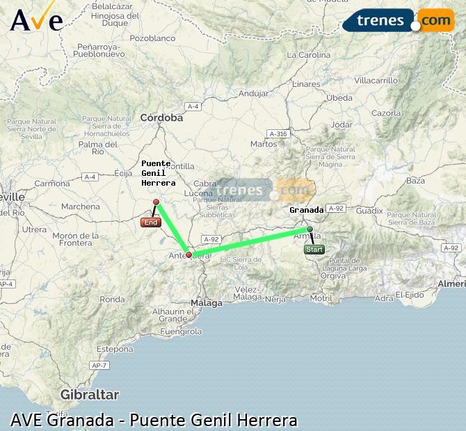 Ampliar mapa AVE Granada Puente Genil Herrera
