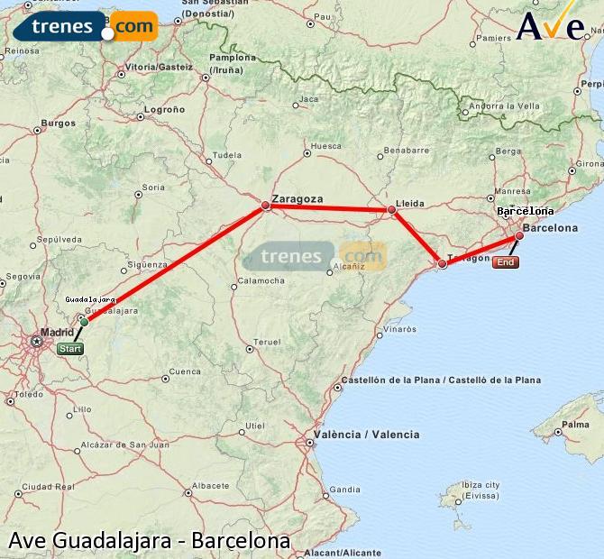 Karte vergrößern AVE Guadalajara Barcelona