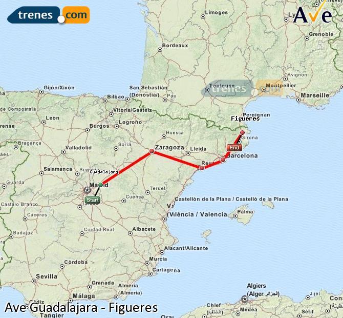 Enlarge map AVE Guadalajara to Figueres