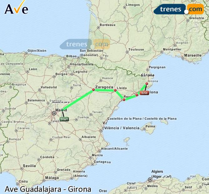 Karte vergrößern AVE Guadalajara Girona