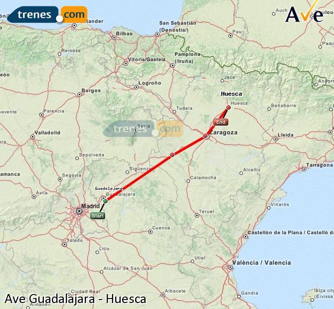 Ampliar mapa AVE Guadalajara Huesca