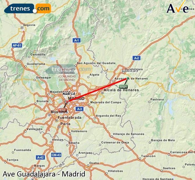 Enlarge map AVE Guadalajara to Madrid