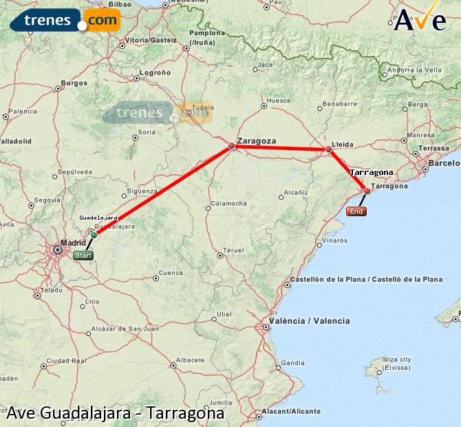 Ampliar mapa AVE Guadalajara Tarragona