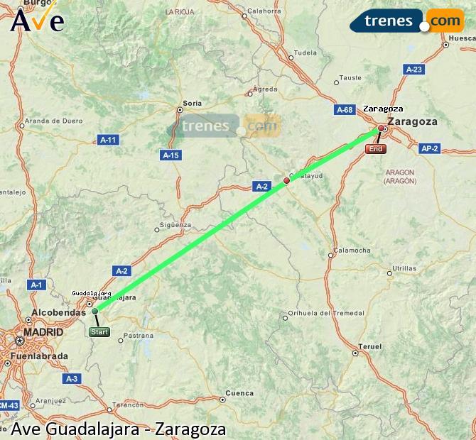 Ampliar mapa AVE Guadalajara Zaragoza