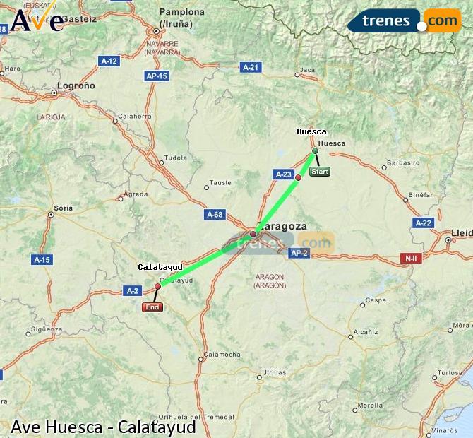 Karte vergrößern AVE Huesca Calatayud