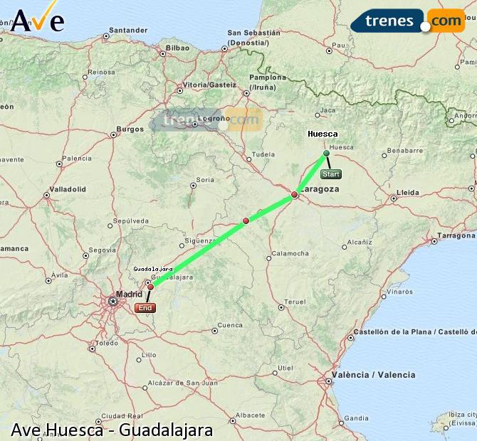 Ingrandisci la mappa AVE Huesca Guadalajara