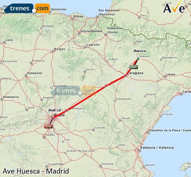 Ampliar mapa AVE Huesca Madrid